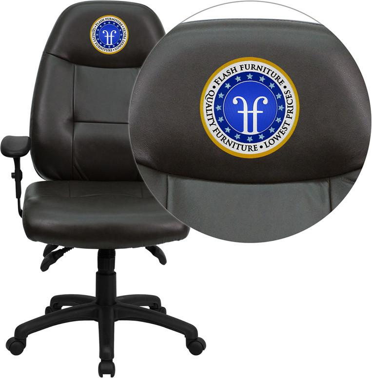 Executive | Furniture | Embroider | Espresso | Leather | Office | Flash | Brown | Chair | Back | High