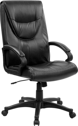 High Back Black Leather Executive Swivel Office Chair BT-238-BK-GG by Flash Furniture - Peazz Furniture