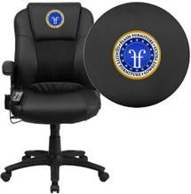 Flash Furniture BT-2536P-1-EMB-GG Embroidered Massaging Black Leather Executive Office Chair - Peazz Furniture