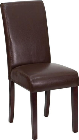 Dark Brown Leather Upholstered Parsons Chair BT-350-BRN-LEA-008-GG by Flash Furniture - Peazz Furniture