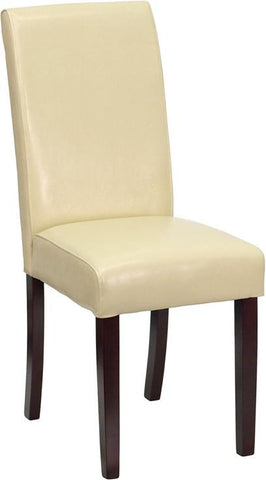 Ivory Leather Upholstered Parsons Chair BT-350-IVORY-050-GG by Flash Furniture - Peazz Furniture