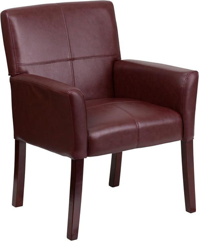 Burgundy Leather Executive Side Chair or Reception Chair with Mahogany Legs BT-353-BURG-GG by Flash Furniture - Peazz Furniture