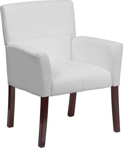 White Leather Executive Side Chair or Reception Chair with Mahogany Legs BT-353-WH-GG by Flash Furniture - Peazz Furniture
