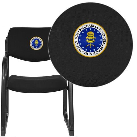 Flash Furniture BT-508-BK-EMB-GG Embroidered Black Fabric Executive Side Chair with Sled Base - Peazz Furniture