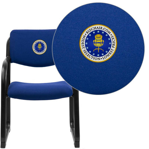 Flash Furniture BT-508-NVY-EMB-GG Embroidered Navy Fabric Executive Side Chair with Sled Base - Peazz Furniture