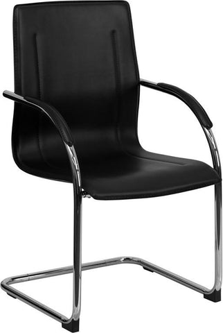 Black Vinyl Side Chair with Chrome Sled Base BT-509-BK-GG by Flash Furniture - Peazz Furniture