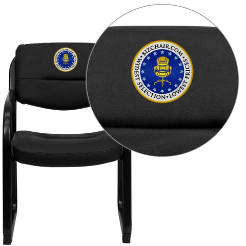 Flash Furniture BT-510-LEA-BK-EMB-GG Embroidered Black Leather Executive Side Chair with Sled Base - Peazz Furniture