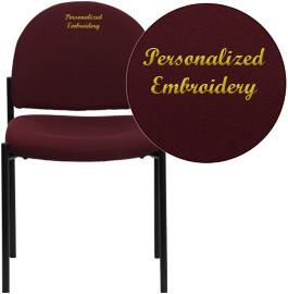 Flash Furniture BT-515-1-BY-EMB-GG Embroidered Burgundy Fabric Comfortable Stackable Steel Side Chair - Peazz Furniture