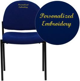 Flash Furniture BT-515-1-NVY-EMB-GG Embroidered Navy Fabric Comfortable Stackable Steel Side Chair - Peazz Furniture