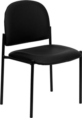 Black Vinyl Comfortable Stackable Steel Side Chair BT-515-1-VINYL-GG by Flash Furniture - Peazz Furniture