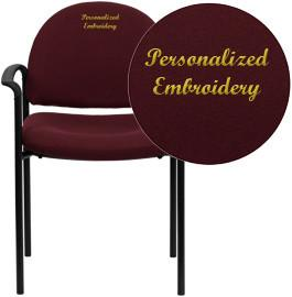 Flash Furniture BT-516-1-BY-EMB-GG Embroidered Burgundy Fabric Comfortable Stackable Steel Side Chair with Arms - Peazz Furniture