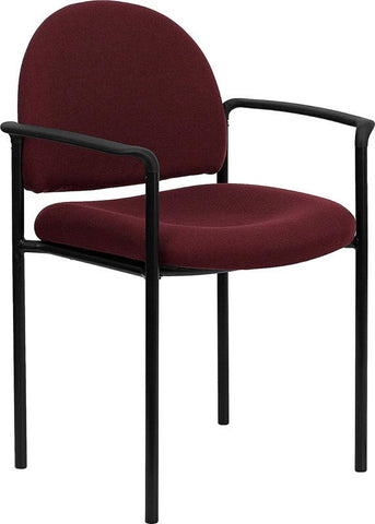 Burgundy Fabric Comfortable Stackable Steel Side Chair with Arms BT-516-1-BY-GG by Flash Furniture - Peazz Furniture
