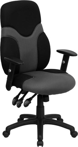 High Back Ergonomic Black and Gray Mesh Task Chair with Adjustable Arms BT-6001-GYBK-GG by Flash Furniture - Peazz Furniture