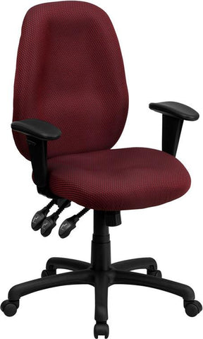 Flash Furniture BT-6191H-BY-GG High Back Burgundy Fabric Multi-Functional Ergonomic Task Chair with Arms - Peazz Furniture