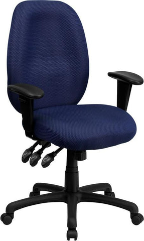 Flash Furniture BT-6191H-NY-GG High Back Navy Fabric Multi-Functional Ergonomic Task Chair with Arms - Peazz Furniture
