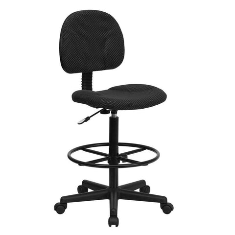 Black Patterned Fabric Multi-Functional Ergonomic Drafting Stool (Adjustable Range 26''-30.5''H or 22.5''-27''H) BT-659-BLK-GG by Flash Furniture - Peazz Furniture