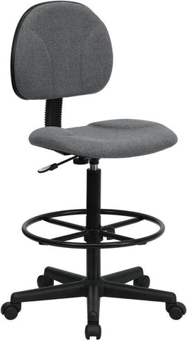 Gray Fabric Multi-Functional Ergonomic Drafting Stool (Adjustable Range 26''-30.5''H or 22.5''-27''H) BT-659-GRY-GG by Flash Furniture - Peazz Furniture
