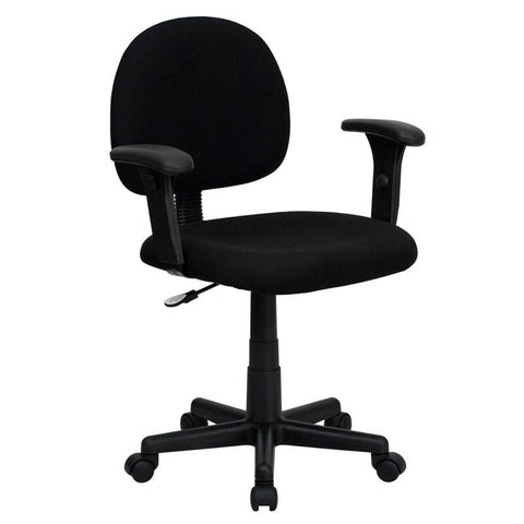 Mid-Back Ergonomic Black Fabric Task Chair with Adjustable Arms BT-660-1-BK-GG by Flash Furniture - Peazz Furniture