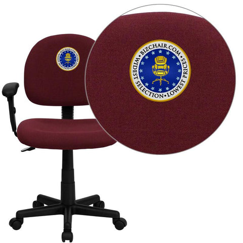 Flash Furniture BT-660-1-BY-EMB-GG Embroidered Mid-Back Ergonomic Burgundy Fabric Task Chair with Adjustable Arms - Peazz Furniture