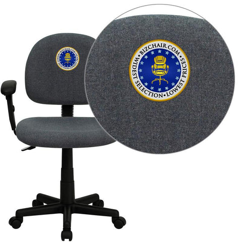 Flash Furniture BT-660-1-GY-EMB-GG Embroidered Mid-Back Ergonomic Gray Fabric Task Chair with Adjustable Arms - Peazz Furniture