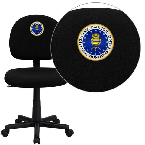 Flash Furniture BT-660-BK-EMB-GG Embroidered Mid-Back Ergonomic Black Fabric Task Chair - Peazz Furniture