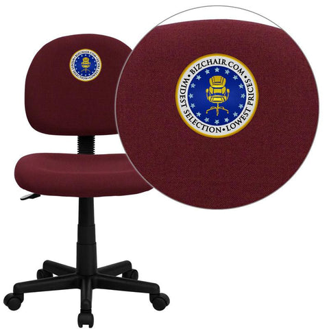 Flash Furniture BT-660-BY-EMB-GG Embroidered Mid-Back Ergonomic Burgundy Fabric Task Chair - Peazz Furniture