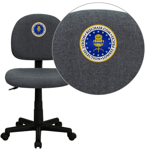 Flash Furniture BT-660-GY-EMB-GG Embroidered Mid-Back Ergonomic Gray Fabric Task Chair - Peazz Furniture