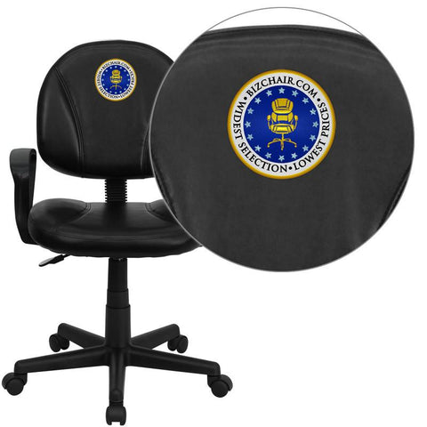 Flash Furniture BT-688-BK-A-EMB-GG Embroidered Mid-Back Black Leather Ergonomic Task Chair with Arms - Peazz Furniture