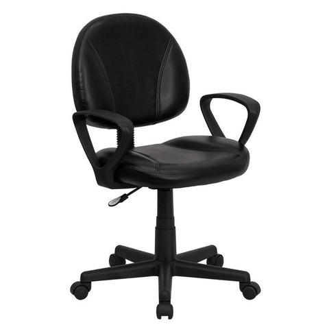 Mid-Back Black Leather Ergonomic Task Chair with Arms BT-688-BK-A-GG by Flash Furniture - Peazz Furniture