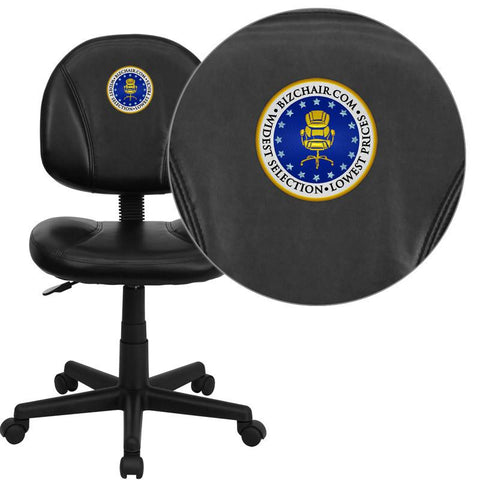 Flash Furniture BT-688-BK-EMB-GG Embroidered Mid-Back Black Leather Ergonomic Task Chair - Peazz Furniture