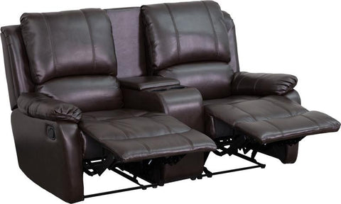 Flash Furniture BT-70295-2-BRN-GG Brown Leather Pillowtop 2-Seat Home Theater Recliner with Storage Console - Peazz Furniture