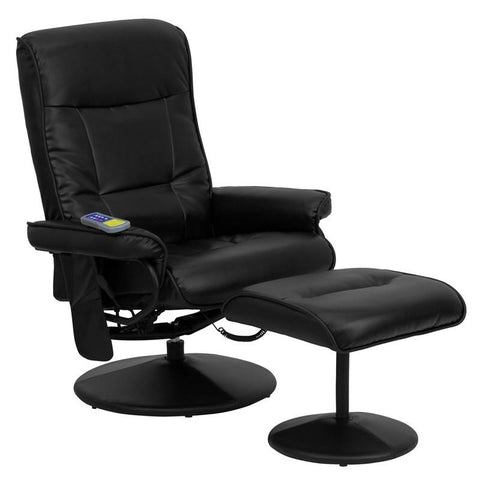 Massaging Black Leather Recliner and Ottoman with Leather Wrapped Base BT-7320-MASS-BK-GG by Flash Furniture - Peazz Furniture