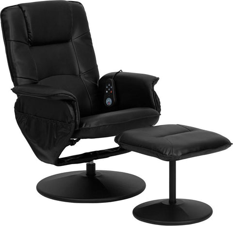 Massaging Black Leather Recliner and Ottoman with Leather Wrapped Base BT-753P-MASSAGE-BK-GG by Flash Furniture - Peazz Furniture