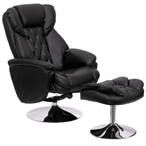 Transitional Black Leather Recliner and Ottoman with Chrome Base BT-7807-TRAD-GG by Flash Furniture - Peazz Furniture