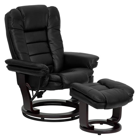 Contemporary Black Leather Recliner and Ottoman with Swiveling Mahogany Wood Base BT-7818-BK-GG by Flash Furniture - Peazz Furniture