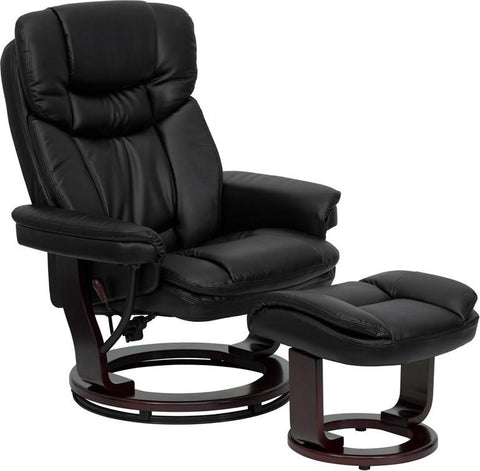 Contemporary Black Leather Recliner and Ottoman with Swiveling Mahogany Wood Base BT-7821-BK-GG by Flash Furniture - Peazz Furniture