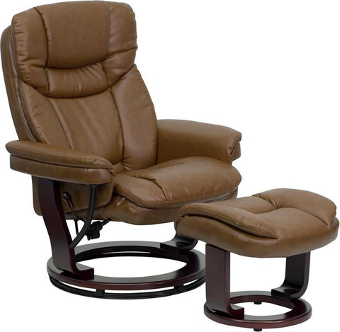 Contemporary Palimino Leather Recliner and Ottoman with Swiveling Mahogany Wood Base BT-7821-PALIMINO-GG by Flash Furniture - Peazz Furniture