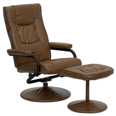 Contemporary Palimino Leather Recliner and Ottoman with Leather Wrapped Base BT-7862-PALIMINO-GG by Flash Furniture - Peazz Furniture