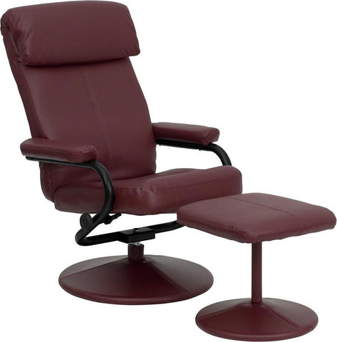 Contemporary Burgundy Leather Recliner and Ottoman with Leather Wrapped Base BT-7863-BURG-GG by Flash Furniture - Peazz Furniture