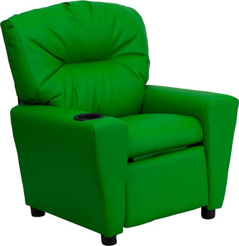 Contemporary Green Vinyl Kids Recliner with Cup Holder BT-7950-KID-GRN-GG by Flash Furniture - Peazz Furniture