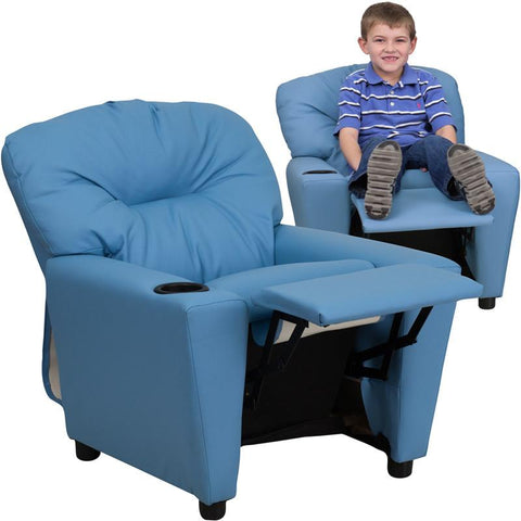 Contemporary Light Blue Vinyl Kids Recliner with Cup Holder BT-7950-KID-LTBLUE-GG by Flash Furniture - Peazz Furniture