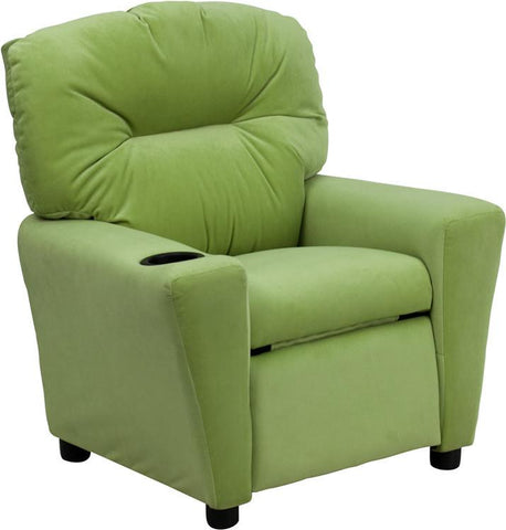 Contemporary Avocado Microfiber Kids Recliner with Cup Holder BT-7950-KID-MIC-AVO-GG by Flash Furniture - Peazz Furniture