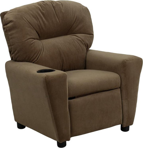 Contemporary Brown Microfiber Kids Recliner with Cup Holder BT-7950-KID-MIC-BRWN-GG by Flash Furniture - Peazz Furniture