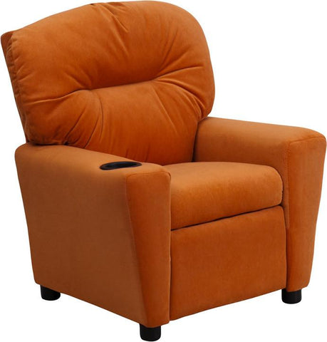 Contemporary Orange Microfiber Kids Recliner with Cup Holder BT-7950-KID-MIC-ORG-GG by Flash Furniture - Peazz Furniture