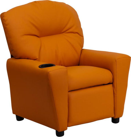 Contemporary Orange Vinyl Kids Recliner with Cup Holder BT-7950-KID-ORANGE-GG by Flash Furniture - Peazz Furniture