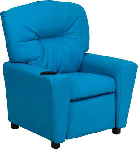 Contemporary Turquoise Vinyl Kids Recliner with Cup Holder BT-7950-KID-TURQ-GG by Flash Furniture - Peazz Furniture