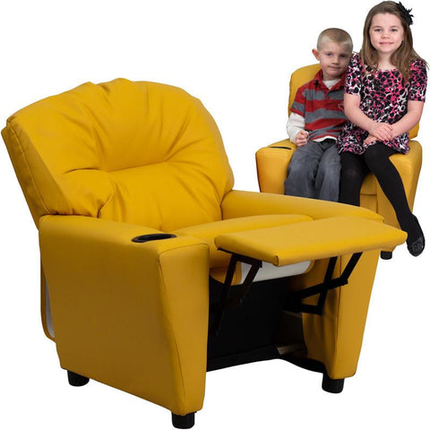 Contemporary Yellow Vinyl Kids Recliner with Cup Holder BT-7950-KID-YEL-GG by Flash Furniture - Peazz Furniture