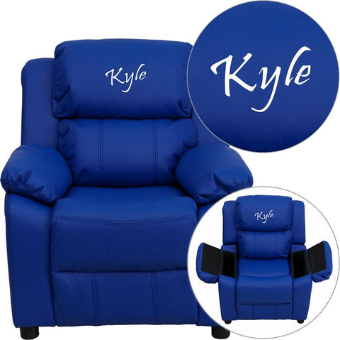 Flash Furniture BT-7985-KID-BLUE-EMB-GG Personalized Deluxe Heavily Padded Blue Vinyl Kids Recliner with Storage Arms - Peazz Furniture