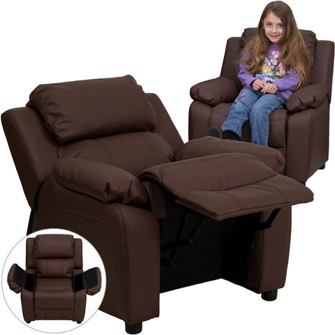 Deluxe Heavily Padded Contemporary Brown Leather Kids Recliner with Storage Arms BT-7985-KID-BRN-LEA-GG by Flash Furniture - Peazz Furniture
