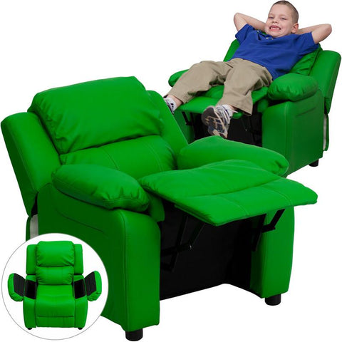 Deluxe Heavily Padded Contemporary Green Vinyl Kids Recliner with Storage Arms BT-7985-KID-GRN-GG by Flash Furniture - Peazz Furniture